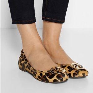 Tory Burch Leopard fur flats